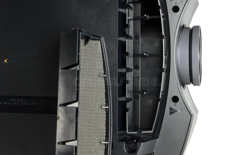 Proiettore domestico nero enorme del cinema, isolato su bianco fotografie stock libere da diritti