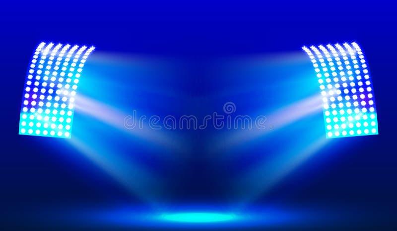 Proiettori nel campo dello stadio illuminazioni Illustrazione di vettore royalty illustrazione gratis
