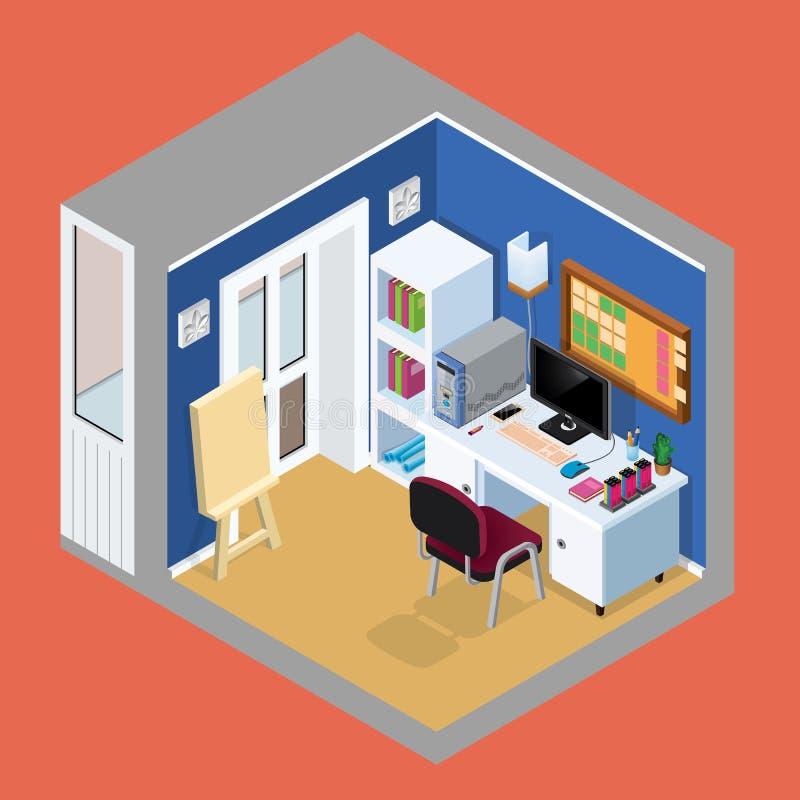 Proiezione isometrica dell'interno della stanza del ` s dell'artista Vecto illustrazione vettoriale