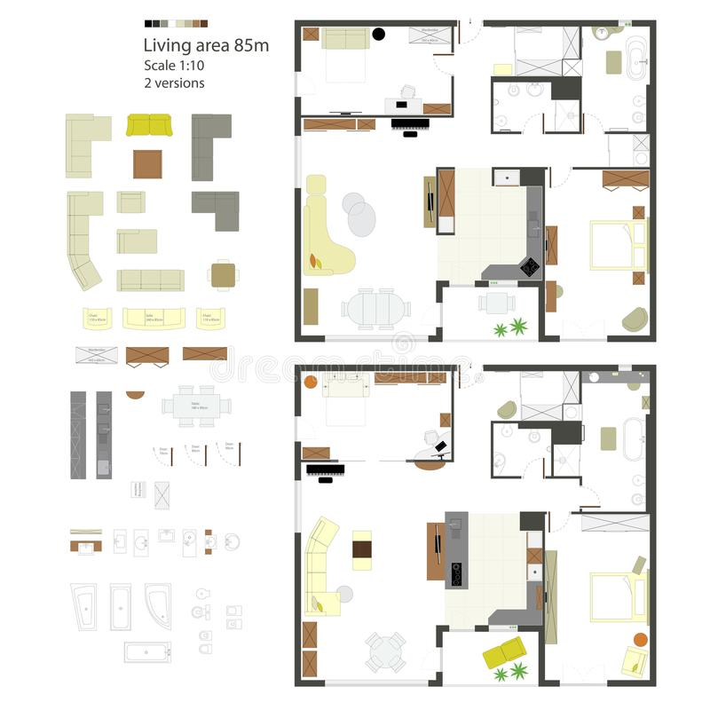 Proiezione piana di vettore con mobilia insieme Scala 1: 10 royalty illustrazione gratis