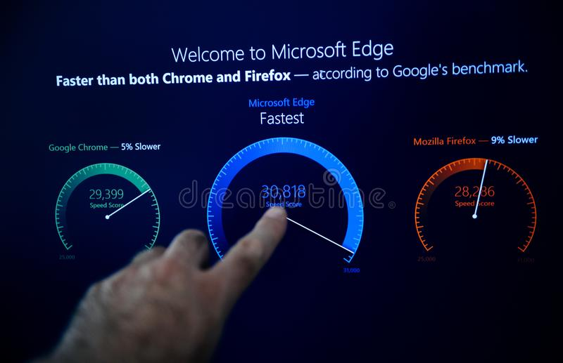 Proinstallationswillkommen Microsoft Windowss 10 zu Microsoft-Rand stockfotos