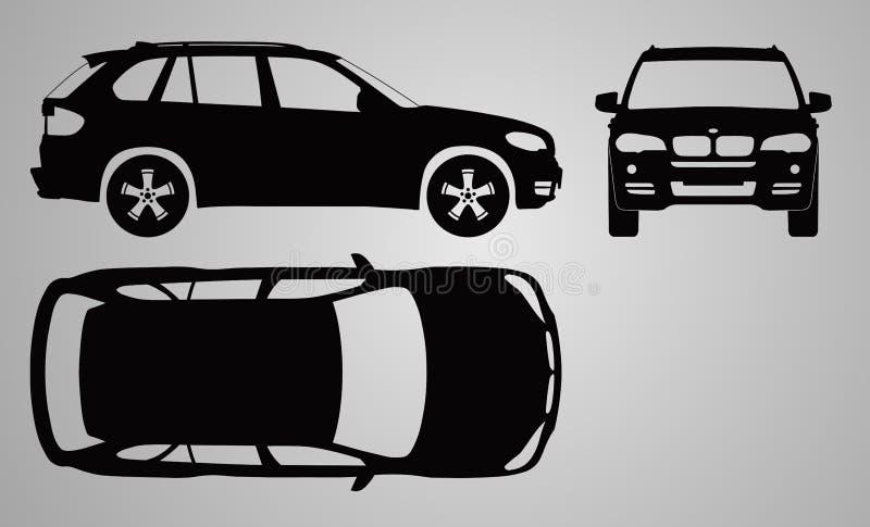 Projeção da parte dianteira, o superior e o lateral do carro Ilustração lisa para projetar ícones imagem de stock royalty free