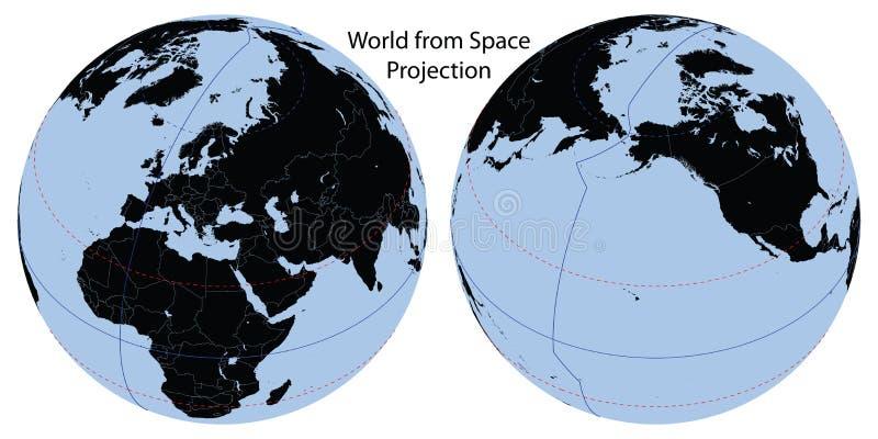 Projeção do espaço do mapa de mundo ilustração do vetor