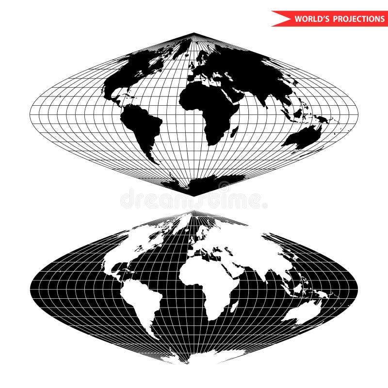 Projeção sinusoidaa preto e branco ilustração royalty free