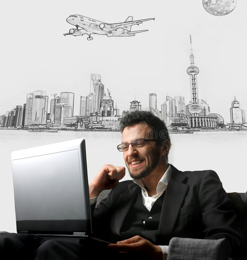 Project. Young businessman smiling and using a laptop on a cityscape illustration background stock images