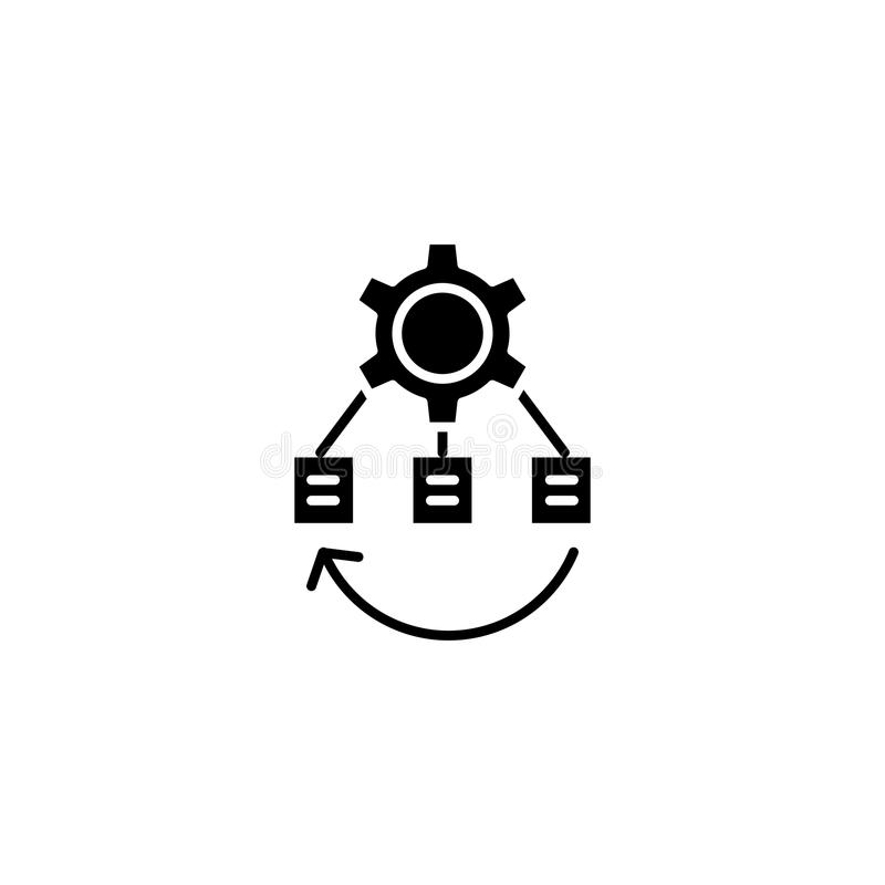 Project business structure black icon concept. Project business structure flat vector symbol, sign, illustration. royalty free illustration