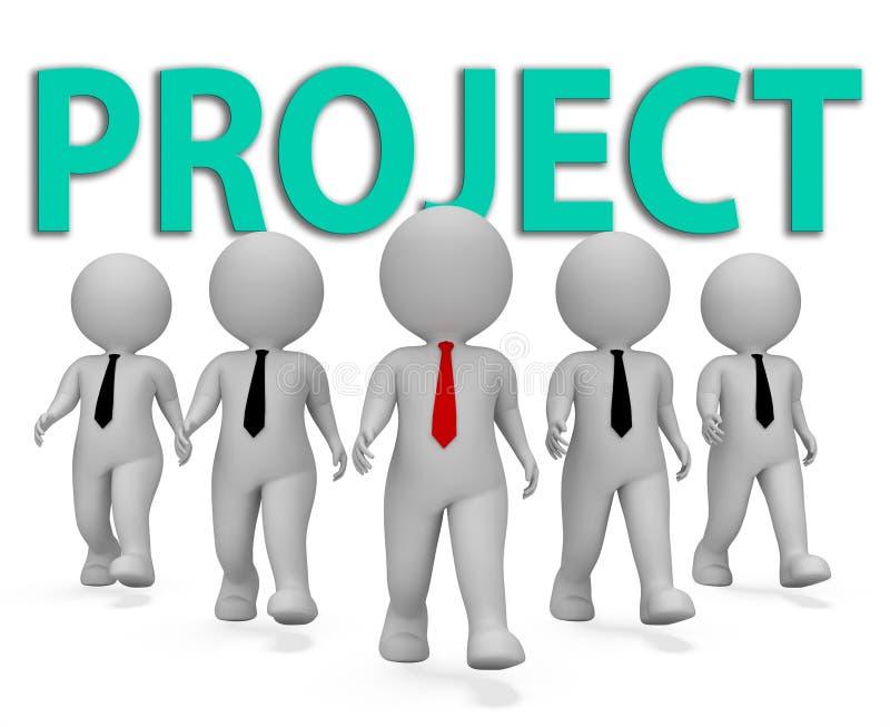 Project Businessmen Indicates Scheme Programme And Businessman 3d Rendering vector illustration