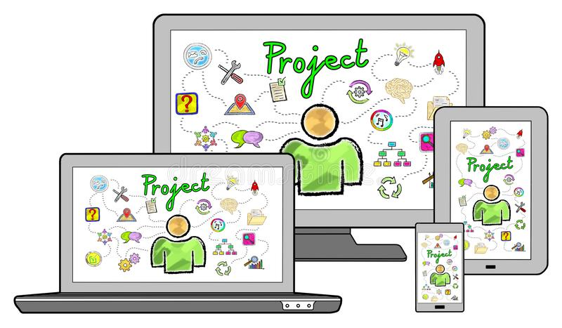 Project concept on different devices. Isolated on white vector illustration