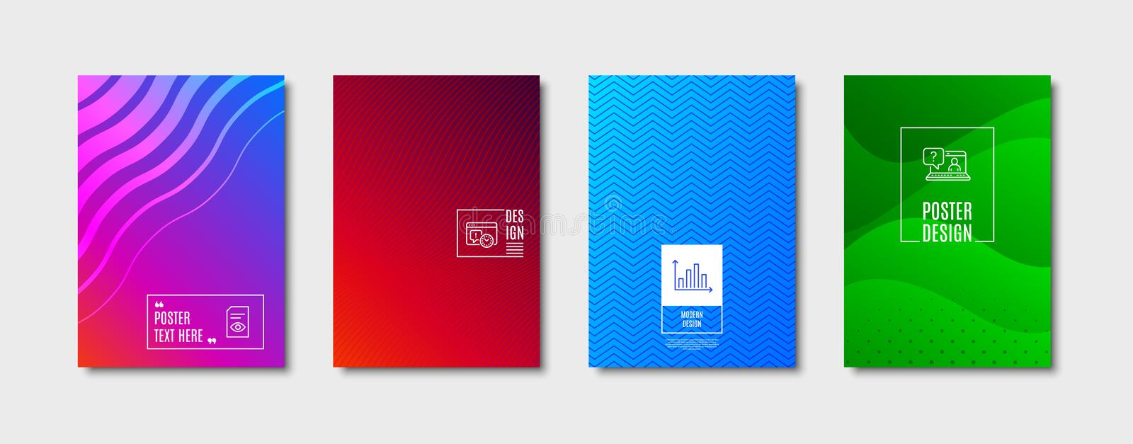 Project deadline, View document and Faq icons set. Diagram graph sign. Time management, Open file, Web support. Vector. Diagram graph sign. Poster design, cover vector illustration