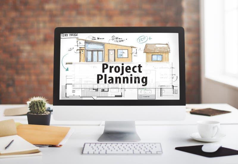 Project het Concept van de het Ontwerpblauwdruk van de Planningsbouw stock foto's