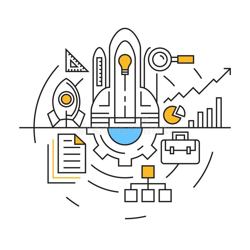 Project Illustration. Flat Line Design with Blue and Orange Colors. Youth and Doodle Style Vector. Business and Industries Concept vector illustration