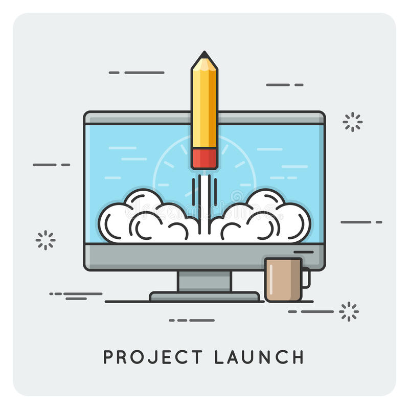 Project launch and start up. Thin line concept. Vector illustration vector illustration
