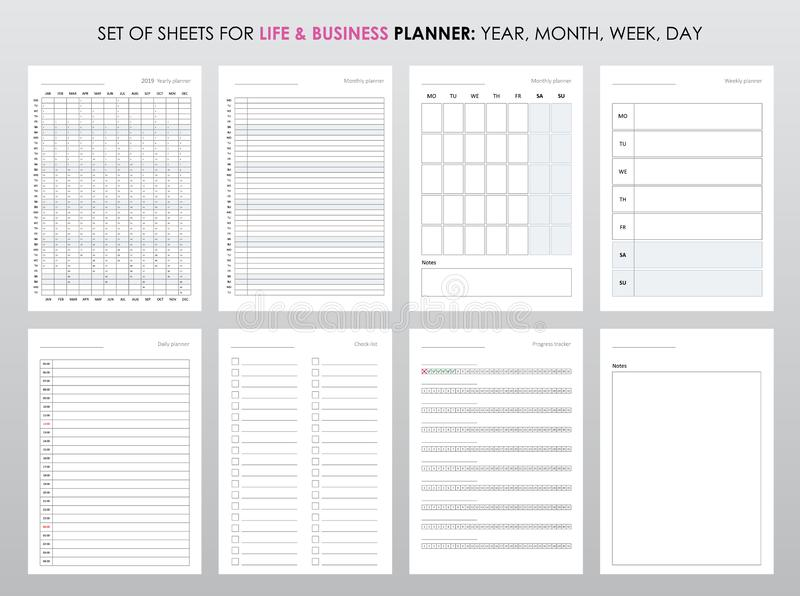Project life and business planner with open date stock illustration