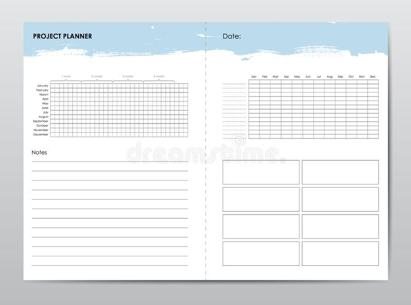 Project life and business planner with open date vector illustration