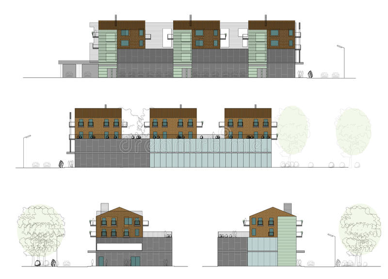 Project of the living house with a shop royalty free illustration