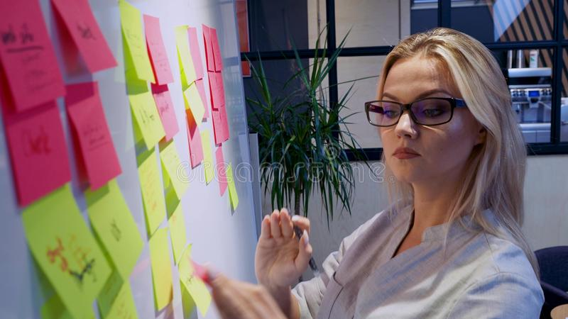Project management agile methodology, concept. A young blonde woman in glasses stock image