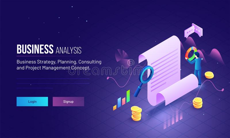 Project management or business analysis concept based landing pa. Ge design can be used for website or mobile app stock illustration