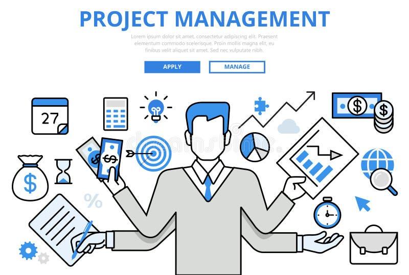 Project management business concept flat line art vector icons. Project management business multitasking concept flat line art vector icons. Modern website royalty free illustration