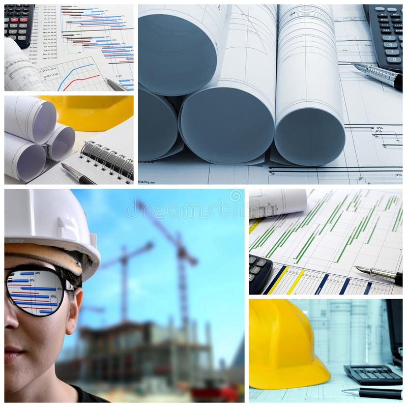 Project management collage. Construction project management collage royalty free stock photography