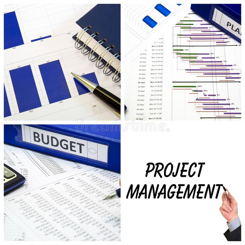 Project management collage royalty free stock image