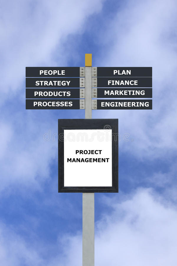 Project management concept chart sign post