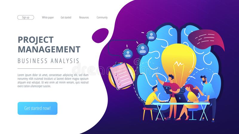 Project management concept landing page. Business team working on project. Project management, business analysis and planning, brainstorming and research stock illustration