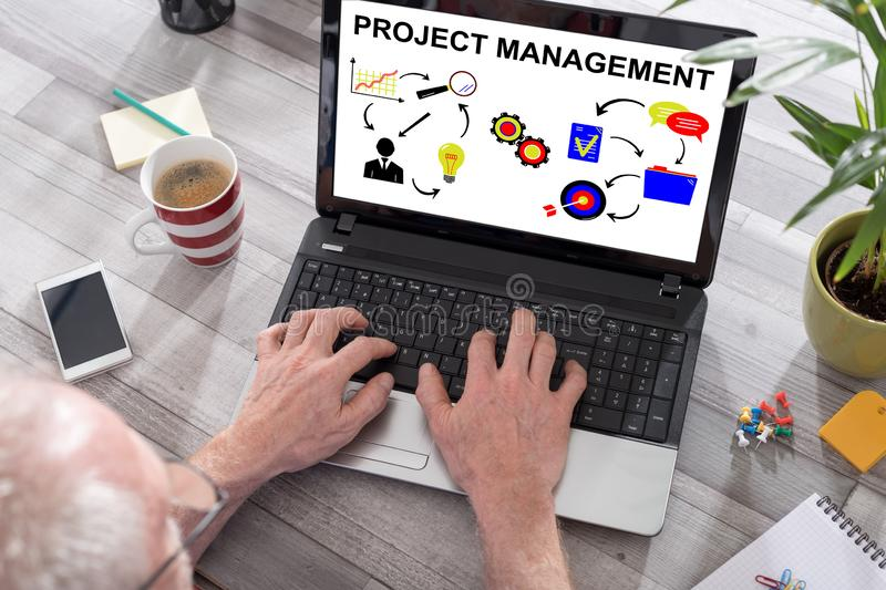 Project management concept on a laptop screen royalty free stock photography