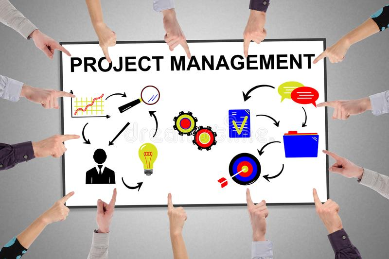 Project management concept on a whiteboard. Hands pointing to project management concept stock illustration