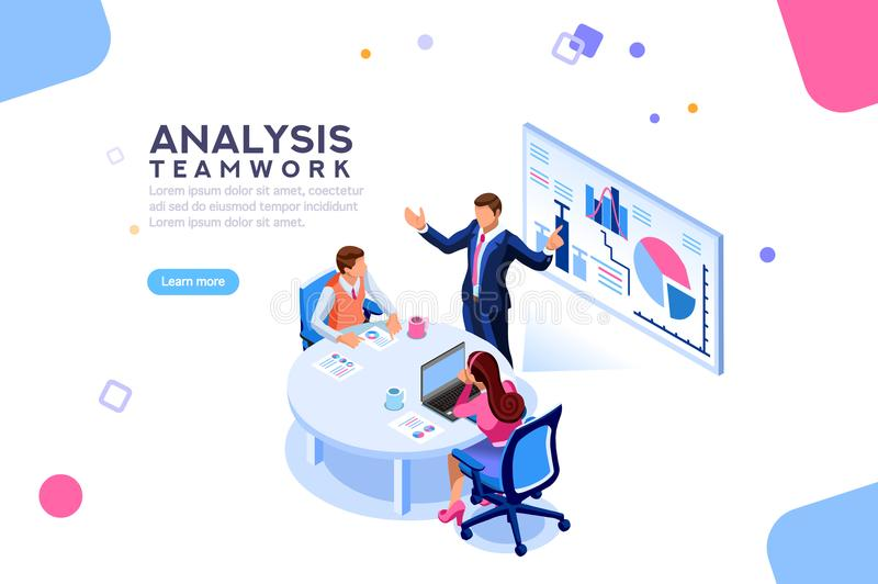 Consulting Team Flat Isometric Banner vector illustration