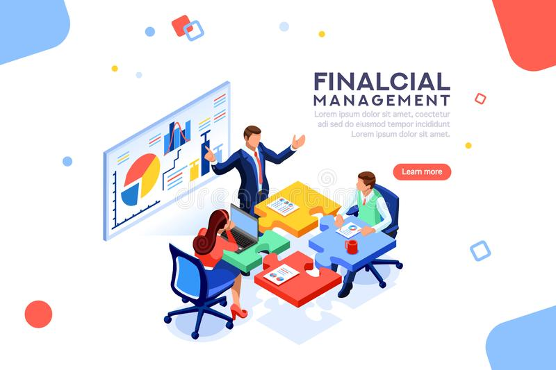 Project Management Financial Report Concept Vector. Project management financial report strategy. Consulting team. Collaboration concept with collaborative vector illustration