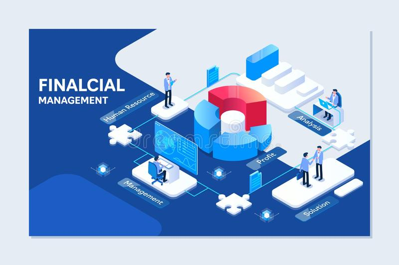 Project management financial report strategy. Consulting team. Collaboration concept with collaborative people royalty free illustration