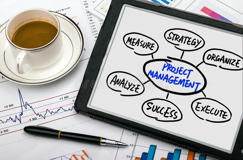 Project management flow chart hand drawing on tablet pc stock photos