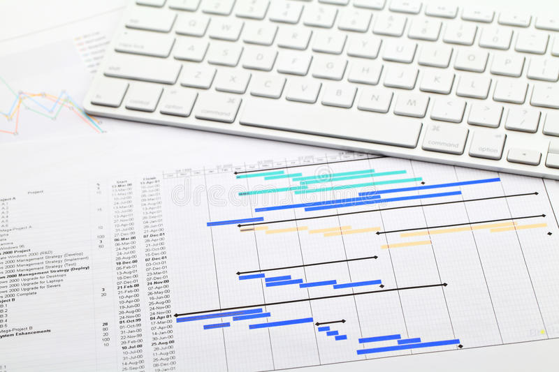 Project management with gantt chart and keypad stock images