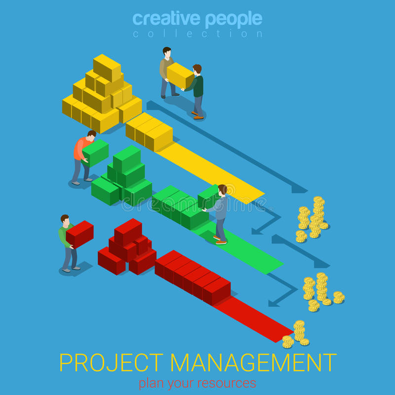 Project management Gantt diagram staff flat vector isometric 3d vector illustration