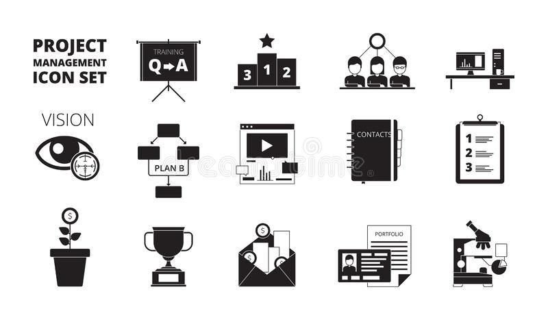 Project management icon. Work planning office managers productivity team manage business processes vector black symbols. Project management icons, business royalty free illustration