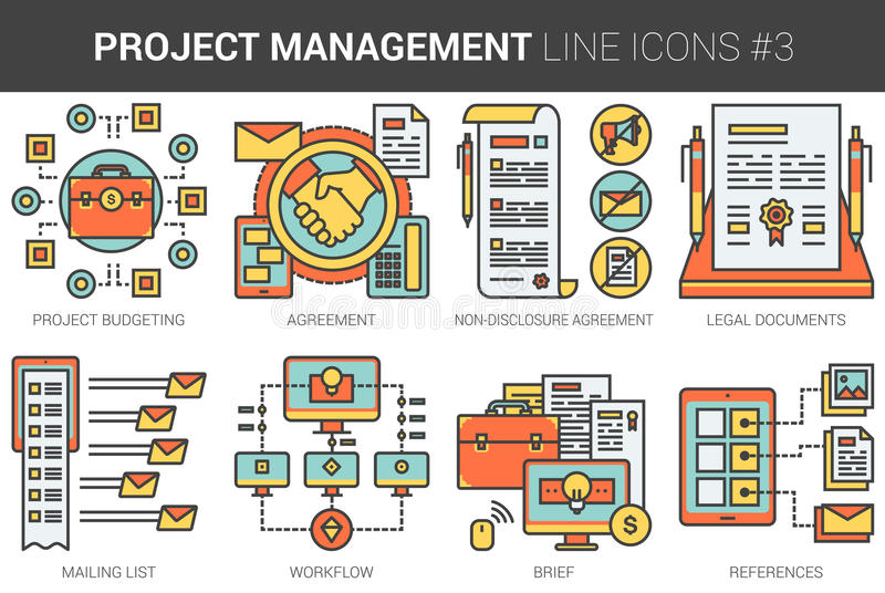 Project management line icon set. Project management infographic metaphor with line icons. Project management concept for website and infographics. Vector line royalty free illustration