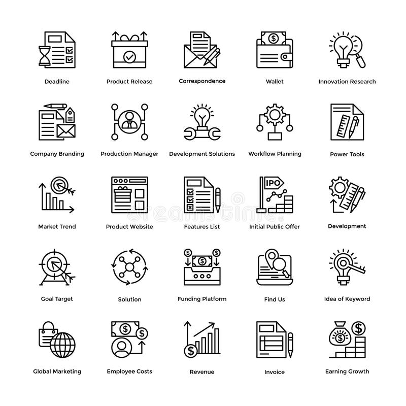 Project Management Line Vector Icons Set 20. If you were just about giving up and thinking of hiring a professional to create marvelous project management icons stock illustration