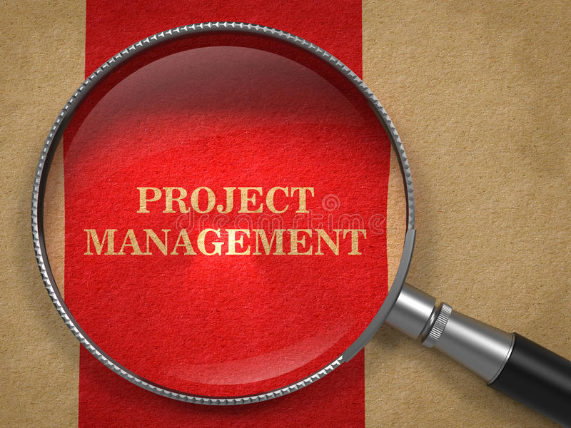 Project Management Through Magnifying Glass. stock photos