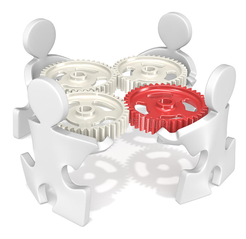 Project management. Puzzle People holding Cogwheels. One red Cogwheel stock illustration