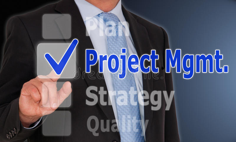 Project Management. Businessman with finger touching highlighted button marked 'Project Management royalty free stock images
