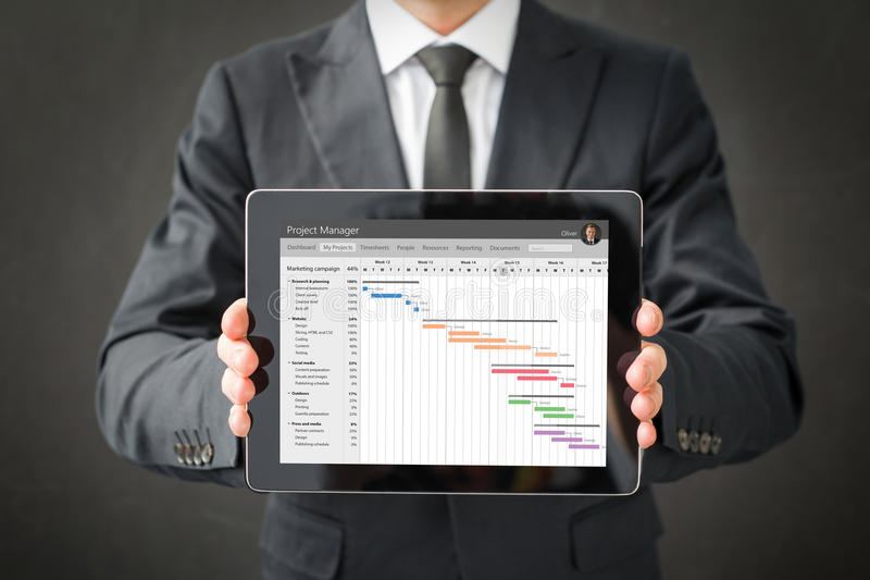 Project management software. On tablet stock photography