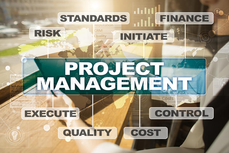 Project management on the virtual screen. Business concept. Project management on the virtual screen. Business concept royalty free stock photo