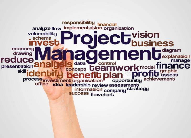 Project Management word cloud and hand with marker concept stock images