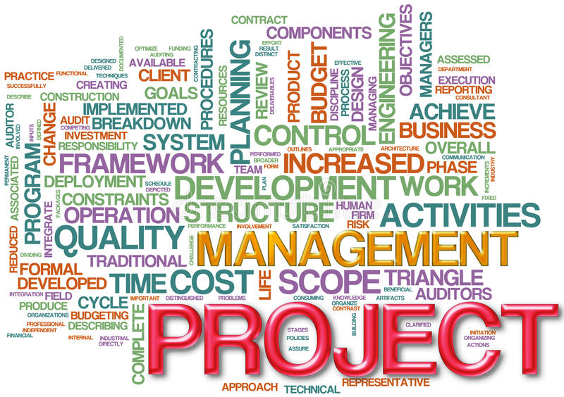 Project management wordcloud vector illustration
