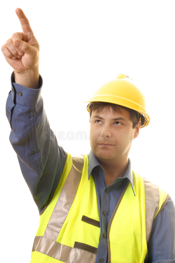 Project Manager. A project manager pointing up at progress stock images