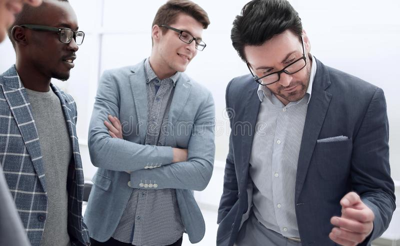 Project Manager and the business team are discussing work problems. The concept of teamwork royalty free stock photography