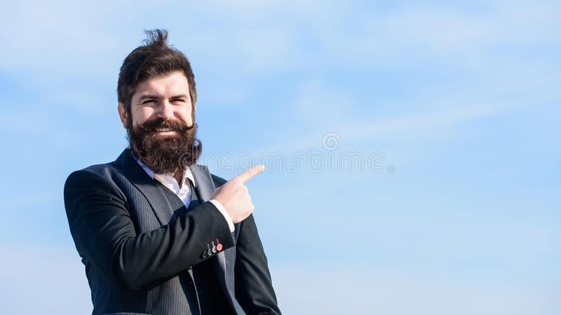 Project manager. Businessman against the sky. brutal caucasian hipster with moustache. Mature hipster with beard stock photography