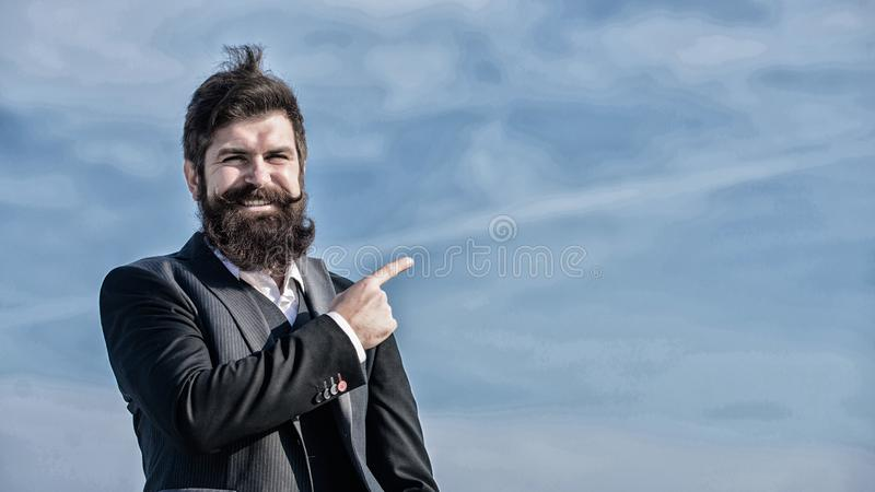 Project manager. Businessman against the sky. brutal caucasian hipster with moustache. Mature hipster with beard royalty free stock photos