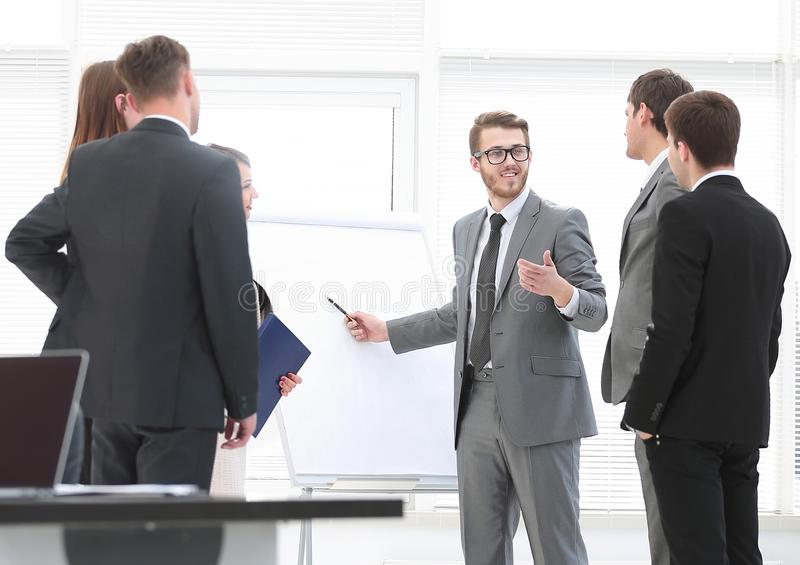Manager conducts a master class for business team royalty free stock photo