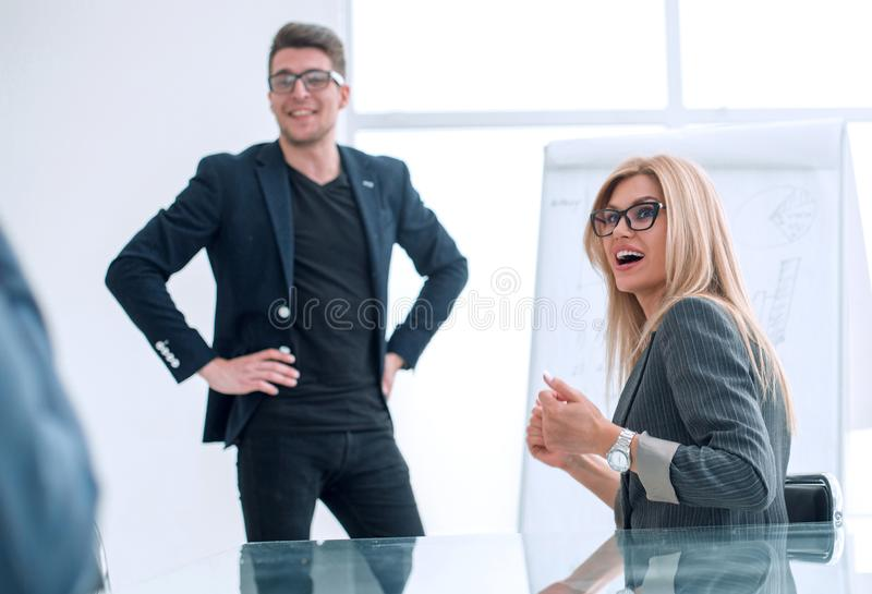 Project Manager holds a meeting with a presentation for the business team stock photos